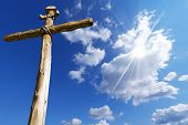 pic of inri  - Old wooden cross  - JPG