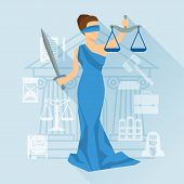 pic of hourglass figure  - Lady justice illustration in flat design style - JPG