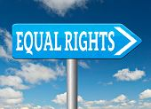 picture of disability  - equal rights road sign no discrimination and same opportunities for all women man disabled black and white solidarity discrimination of people with disability or physical and mental handicap  - JPG