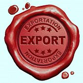 pic of export  - export international trade and exportation in a global economy freight transportation red wax seal stamp button - JPG
