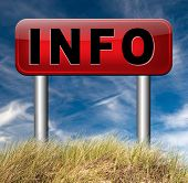foto of more info  - information sign  banner or label to search more details and find online info  - JPG