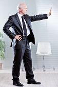 stock photo of going out business sale  - business man stopping someone and saying can - JPG