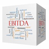 foto of amortization  - EBITDA 3D cube Word Cloud Concept with great terms such as earnings before taxes interest and more - JPG