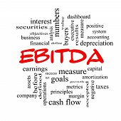 picture of amortization  - EBITDA Word Cloud Red Caps Concept with great terms such as earnings before taxes interest and more - JPG