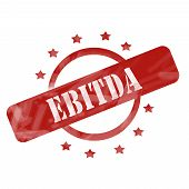 foto of amortization  - A red ink weathered roughed up circle and stars stamp design with the word EBITDA on it making a great concept - JPG
