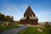 foto of reining  - A beautiful front view of Reinli stave church - JPG