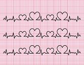 picture of beating-heart  - heart beats cardiogram on a pink background - JPG