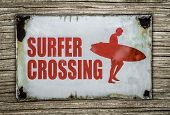 image of board-walk  - Vintage Red Retro Surfer Crossing Warning Sign On Wooden Background In Hawaii - JPG