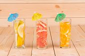 image of collins  - Close up of sliced fruits in collins glasses - JPG