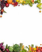 image of eatables  - studio photography of different fruits and vegetables on white backdrop - JPG