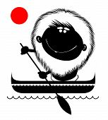 picture of canoe boat man  - Comic cartoon man floating on the waves in a canoe - JPG