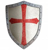 stock photo of crusader  - templar or crusader metal shield isolated on white - JPG