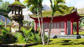 pic of vegetation  - Buddhist shrine in the mountains with tropical vegetation - JPG