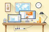 image of creativity  - Flat design vector illustration of modern creative office workspace - JPG