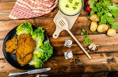 stock photo of wieners  - Wiener Schnitzel with mashed potato veal meal original and delicious - JPG