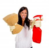 pic of cleaning agents  - a young woman annoyed that they have to do the house cleaning - JPG