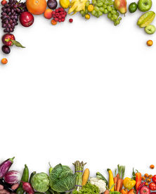 image of studio  - studio photography of different fruits and vegetables on white backdrop - JPG