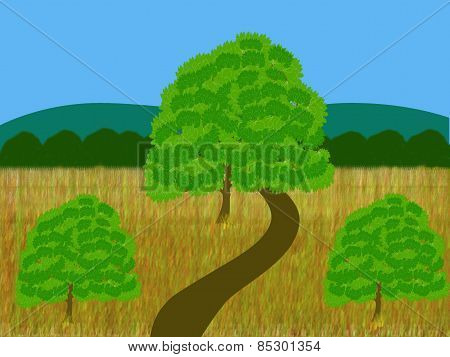 Oak Trees In A Field Of Grain