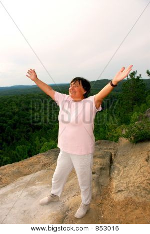 Mature woman cliff