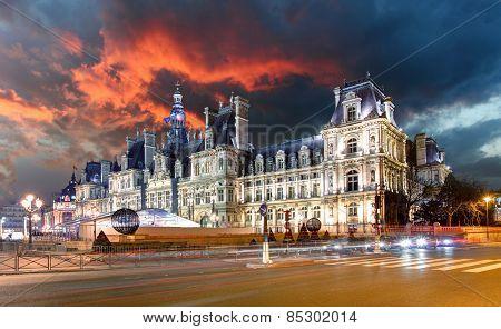 View Of Hotel De Ville (city Hall) In Paris , France