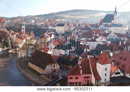 Panorama Of Cesky Krumlov On A Sunny Day