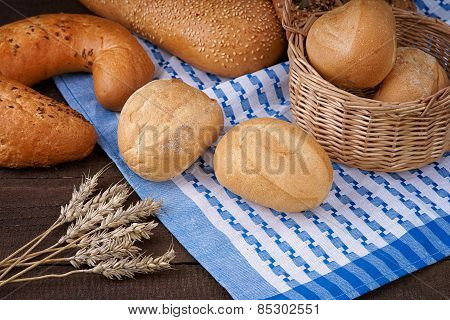 Bread products on the tablecloth