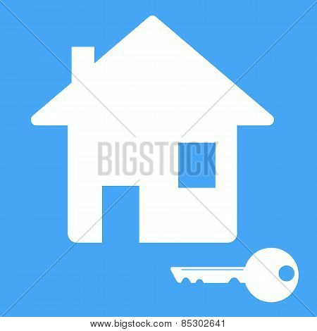 Icon House With A Key. Vector Illustration.