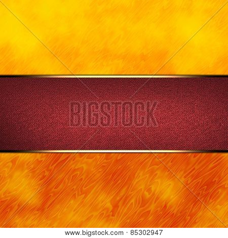 Colorful Orange Abstract Background With Red Nameplate With Gold Trim