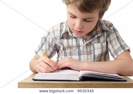 Little Caucasian Boy Painting In Notebook, Half Body, Front View, Isolated On White