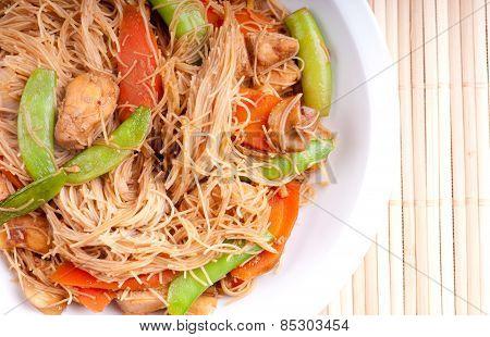 Chicken Stir Fry, Gluten Free Noodles, Healthy And Fat Free