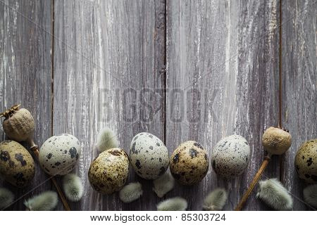 Easter Background Quail Eggs Catkins Wooden Table