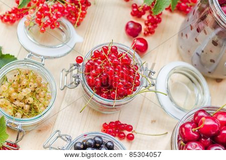 Red White Black Currants Gooseberries Cherries Jars Preparations