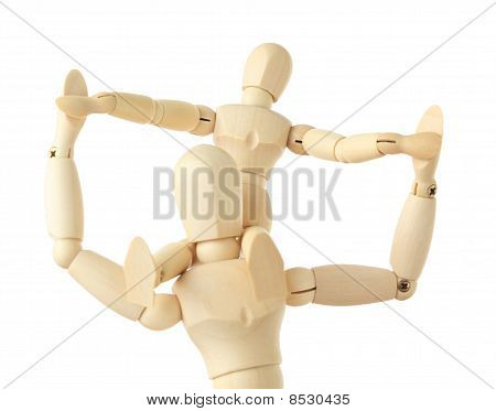 Wooden Figures Of Child Sitting On Neck Of His Parent And Holding For Hands, Half Body, Isolated