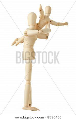 Wooden Figures Parent Holding His Child On Hands, Full Body, Isolated On White
