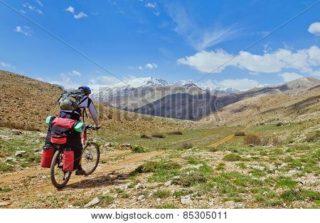 Cyclist Riding On Mountain Serpentine In Turkey