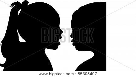 talking sisters, silhouette vector