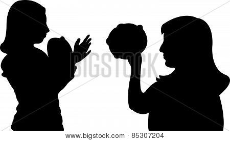 playing tambourine and dancing, vector
