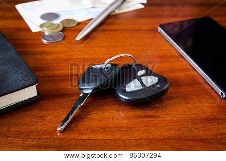 car keys, phone and money