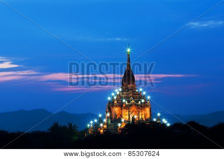 Gawdawpalin Pagoda At Twilight In Bagan Archaeological Zone, Myanmar