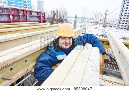 construction site worker at concrete works at building area