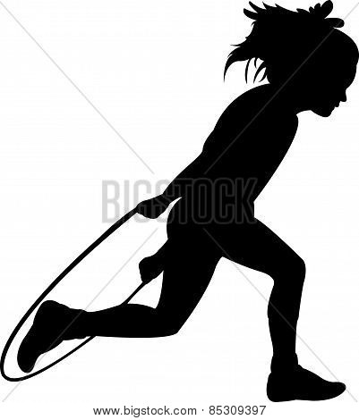 Silhouettes girl, jumping rope-vector