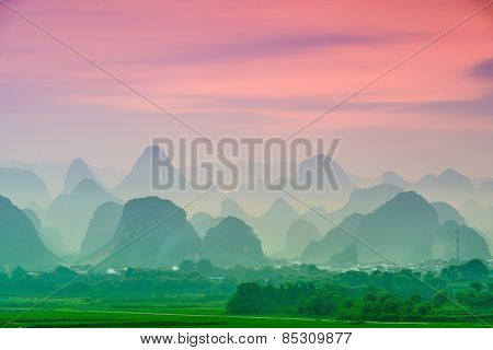 Guilin, China karst mountain landscape.