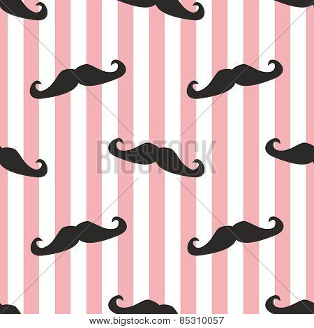 Tile vector mustache pattern with pink and white stripes background