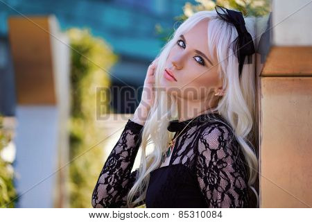 Portrait Of Beautiful Blonde Girl With Makeup