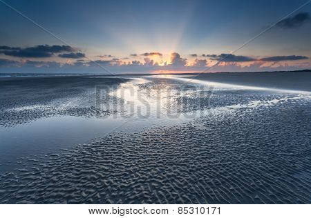 Sunrise On Sand Beach