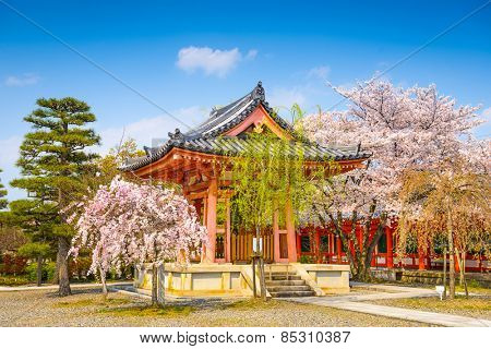 Buddhist Temple bellhouse during spring season at Sanjusangendo Shrine, Kyoto, Japan.
