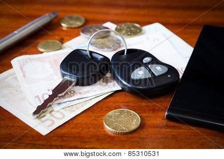 car keys, phone and money