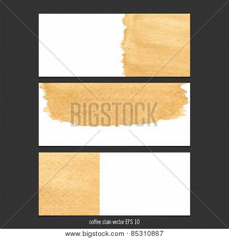 Vector Banners With Coffee Stain Watercolor.