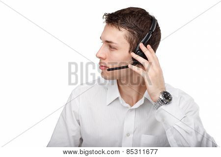 Half-face Portrait Of Male Customer Service Representative Or Call Center Worker Or Operator Or Supp