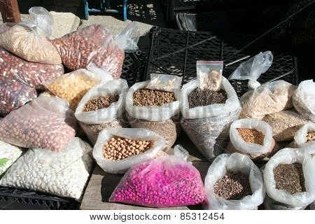 Flower seeds on display at bazaar on a sunny day
